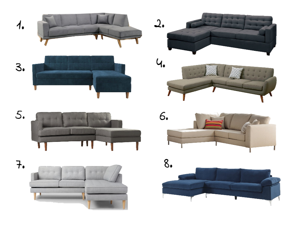 A round up of affordable sectionals- all under $1,000